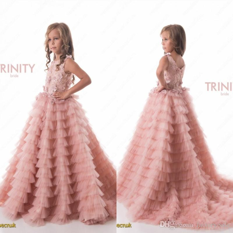 Pretty Blush Pink Ruched Tiered Puffy Girls Pageant Dresses Newly Princess Jewel Neck Hand Made Flowers Flower Girls Dresses