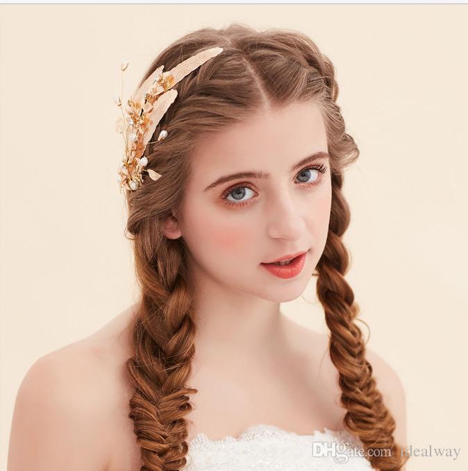 تصميم فريد من نوعه أزياء مطلية بالذهب سبيكة ليف الشكل دبوس الشعر مقاطع الشعر الشعر التبعي للنساء مجوهرات