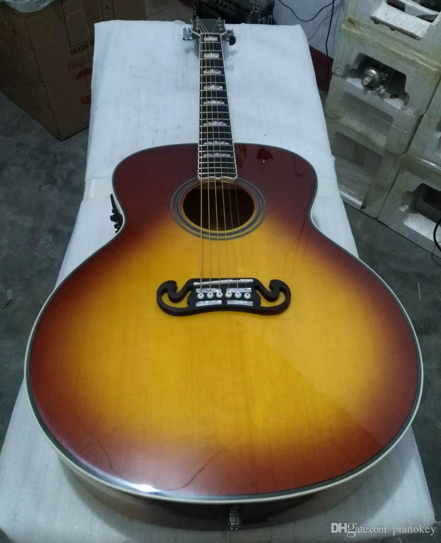 Free shipping OEM handcrafted 43 inch Jumbo Tobacco color acoustic guitar,solid spruce top, China made guitars J200