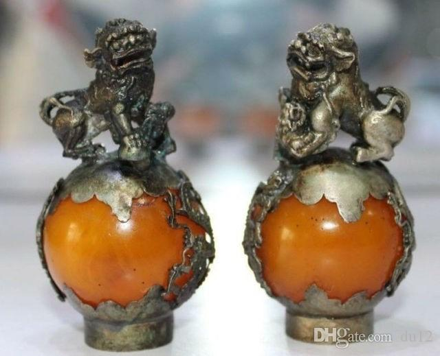 decoration crafts free shipping A Pair of Old Tibet Silver Hand Carved Amber Dragon Phoenix Ball Lion Statues