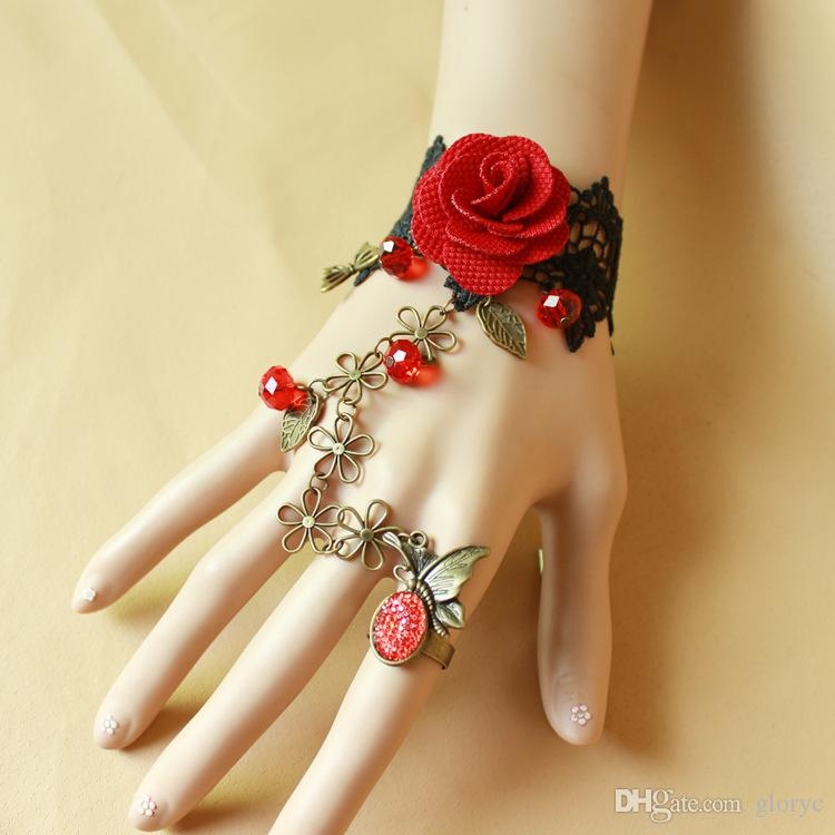 Fashion Vintage Lady DIY Jewelry Gothic Lace Flower Gemstone Finger Ring Charms Bracelet rose flower Bracelet Chains New Arrival GLGS124