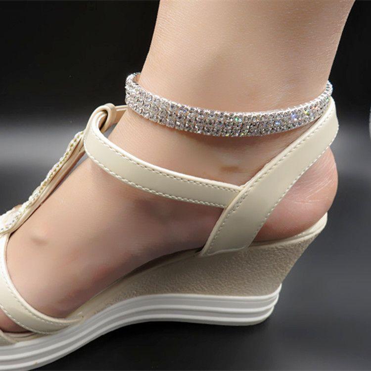 1-4Row Bling блестящий Кристалл Rhinetone Sexy Stretch ножные браслеты для женщин 2017 лето ручной работы босиком браслет цепи свадебные украшения