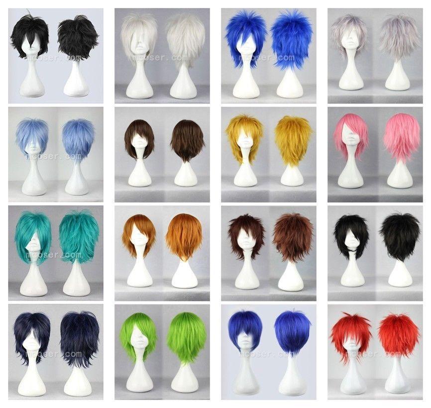 100% Yepyeni Yüksek Kalite Moda Resim tam dantel peruk16 Renkler Yeni Moda Kısa Düz Adam Peruk Cosplay Parti Peruk Ücretsiz Kargo