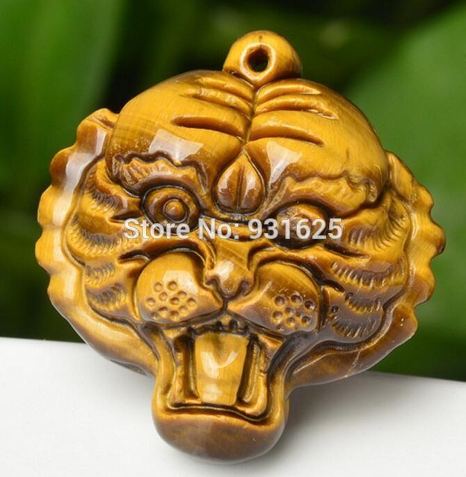Commercio all'ingrosso 100% naturale occhio di tigre gemma intagliato a mano ciondolo testa di tigre + collana in oro fortunato ciondolo gioielleria raffinata