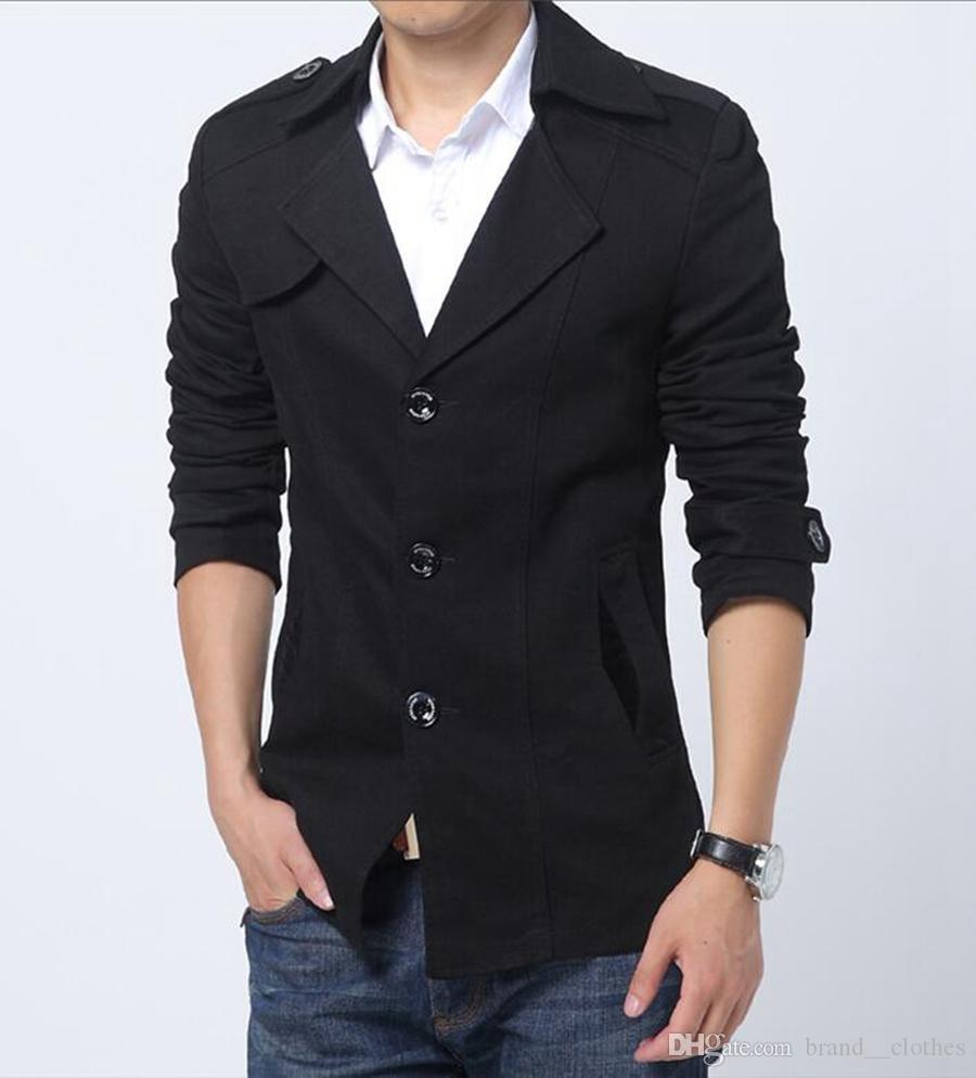 L'Europe et les États-Unis la nouvelle boutique han édition hommes hiver long trench-coat de haute qualité à boutonnage simple / M-3XL
