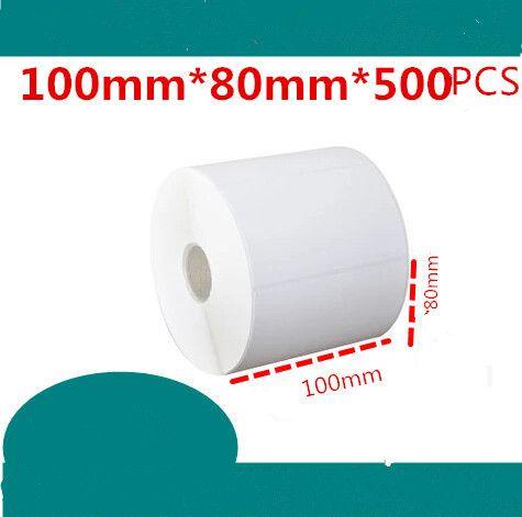 100 * 80mm 500pcs / rouleau NOUVEAU Étiquettes blanches blanches de papier à barres d'autocollant de papier auto-adhésif enduit de papier