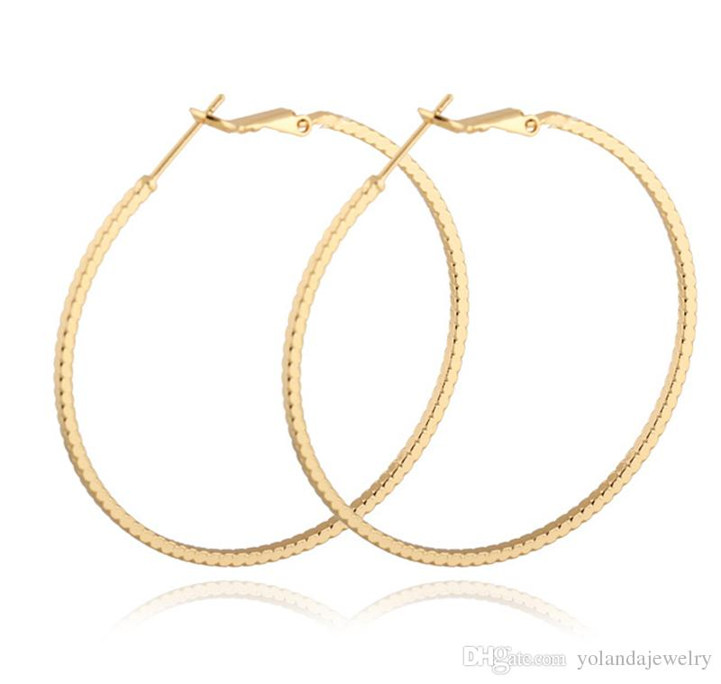 공장 공급 낮은 가격에 고품질의 귀걸이 18K 옐로우 / 화이트 / 로즈 골드 도금 슬림 서클 귀걸이 여성을위한 고리