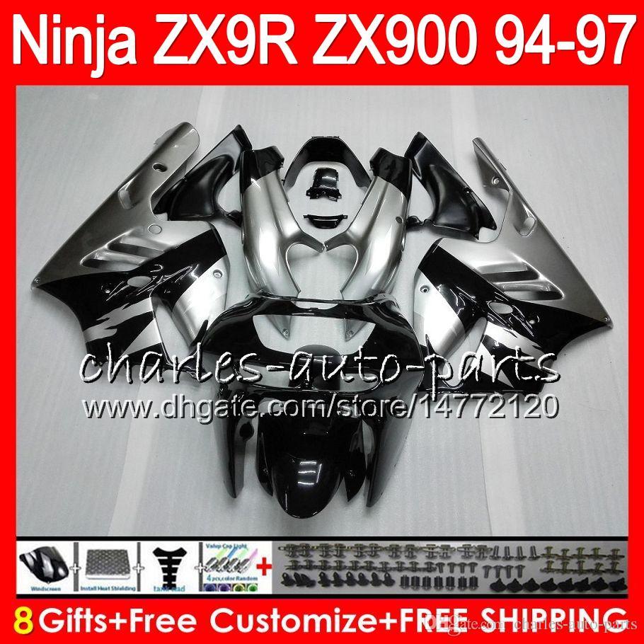 8Gifts 23colors kawasaki ninja zx900 zx9r 94 95 96 97 900cc 49hm12 zx-9r zx900c zx 9 zx 9r 1994 1995 1996 1997 페어링 은빛 검정