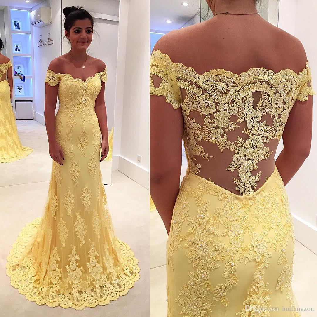 4b07317bc3b17 2019 Lemon Yellow Mother Of The Bride Dresses Off Shoulder Lace Appliques  Formal Evening Gowns Pearls Floor Length Mother Of The Bride