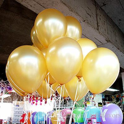 الذهب الهليوم سماكة البالونات لؤلؤة مطاط عيد ميلاد سعيد حفل زفاف Decoraiton حقيبة 100pcs / 1.8G 10inch لحرية الملاحة