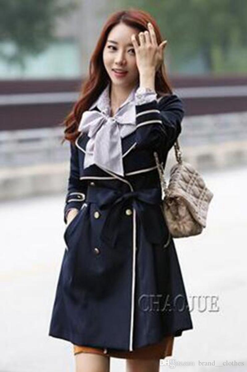 Donna nel periodo primaverile e autunnale e la boutique dell'edizione britannica trench coat elegante lungo e sottile colore nero / S-4XL