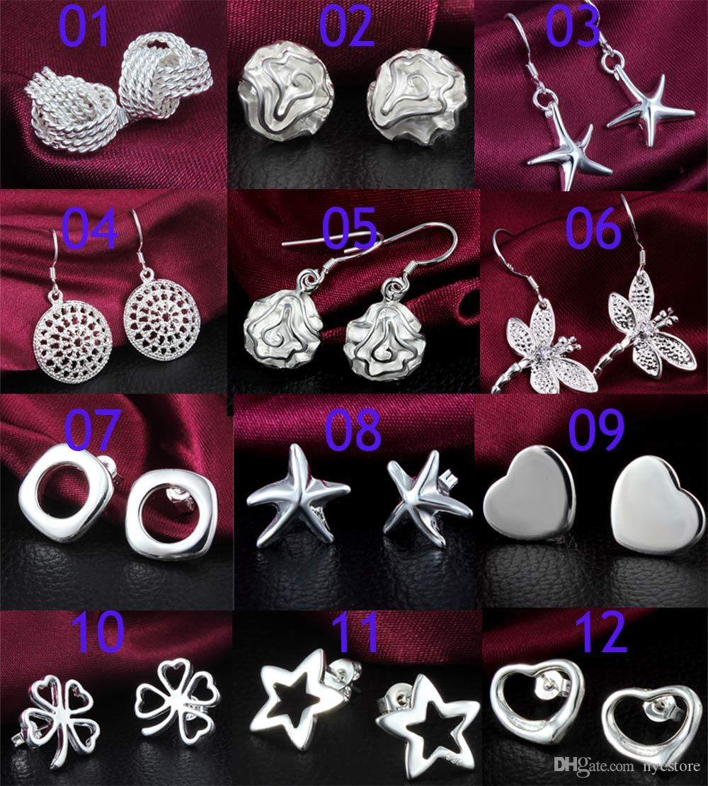 Alta Calidad 925 Pendientes de Plata Para Las Mujeres Más Nueva Joyería de Moda Charm Stud Pendientes Hermoso regalo de Navidad Pendiente proveedores