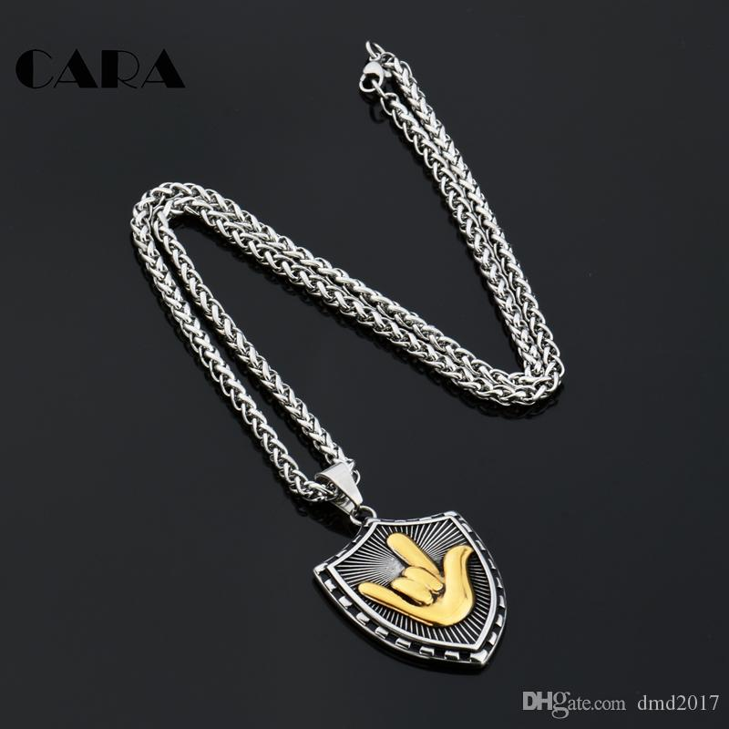 Stainless Steel Mens Gold Tone Hiphop LOVE Gesture Shield Pendant Necklace Chain