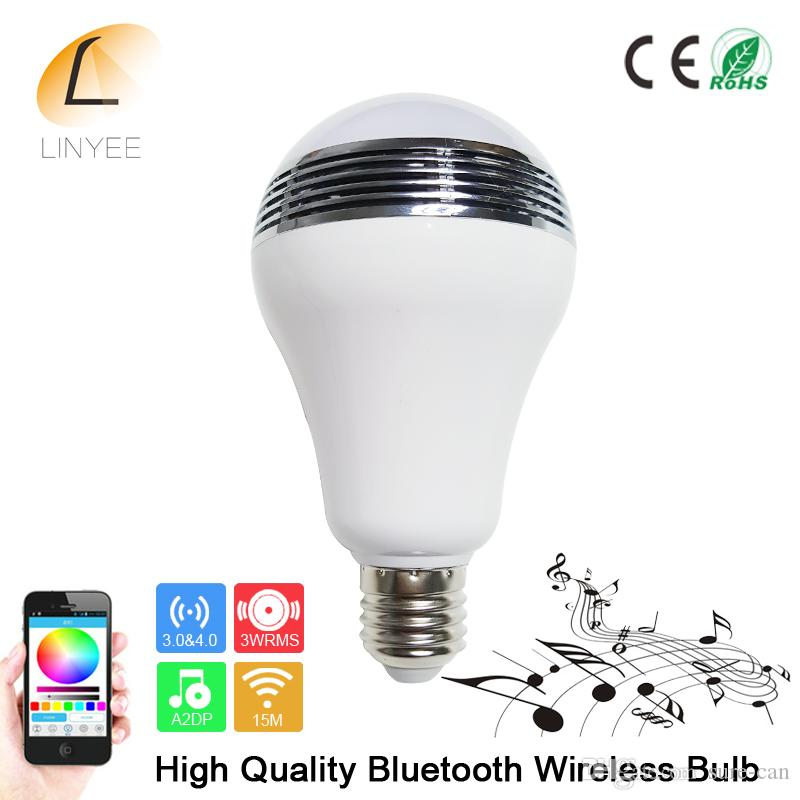 Wireless Speaker bluetooth E27 Smart LED RGB Light Music Bulb Lamp Color Changing via WiFi App Control mp3 player