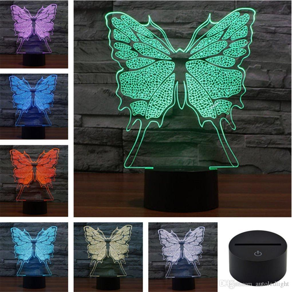 Butterfly Creative Creature 3D Acrylic Visual Home Touch Table Lamp Colorful Art Decor USB LED Children's Desk Night Light 3D-TD115