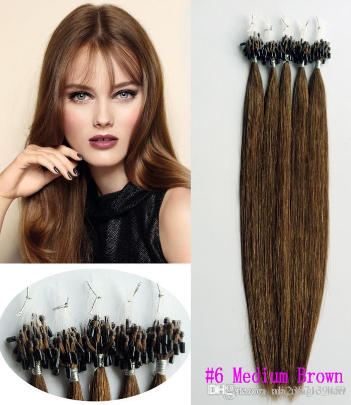 """Micro anneau cheveux Extensions du Brésil Remy Cheveux châtain Nano boucle Cheveux raides 18 « 20 » 22"""" gros bon marché prix usine"""