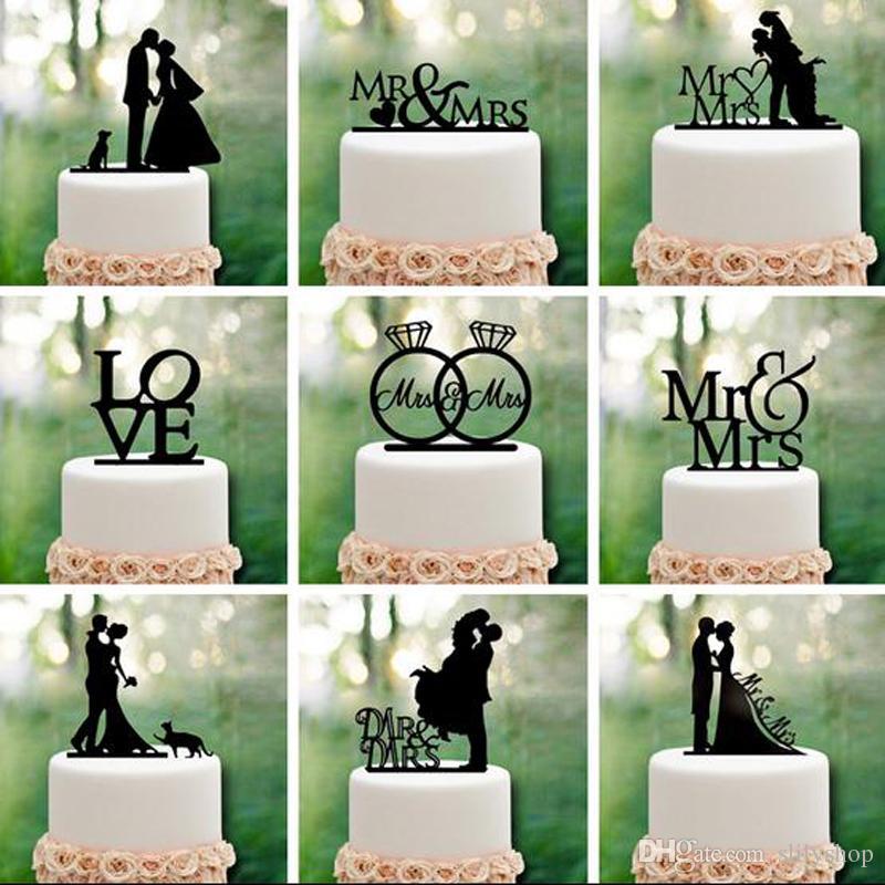 미스터 부인 웨딩 장식 케이크 토퍼 아크릴 블랙 로맨틱 신부 신랑 케이크 액세서리 결혼식 파티 호의
