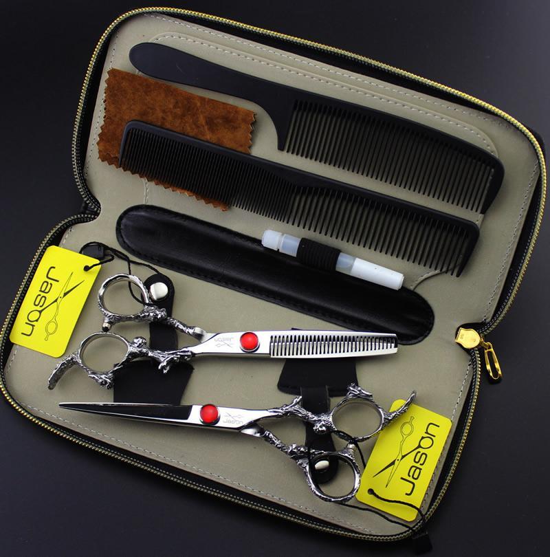 6.0 Inch Jason Cutting Thinning Scissors Professionale Forbici per parrucchiere Kit JP440C Hot Barber Scissors Hair Shears Strumenti per barbiere, LZS0631
