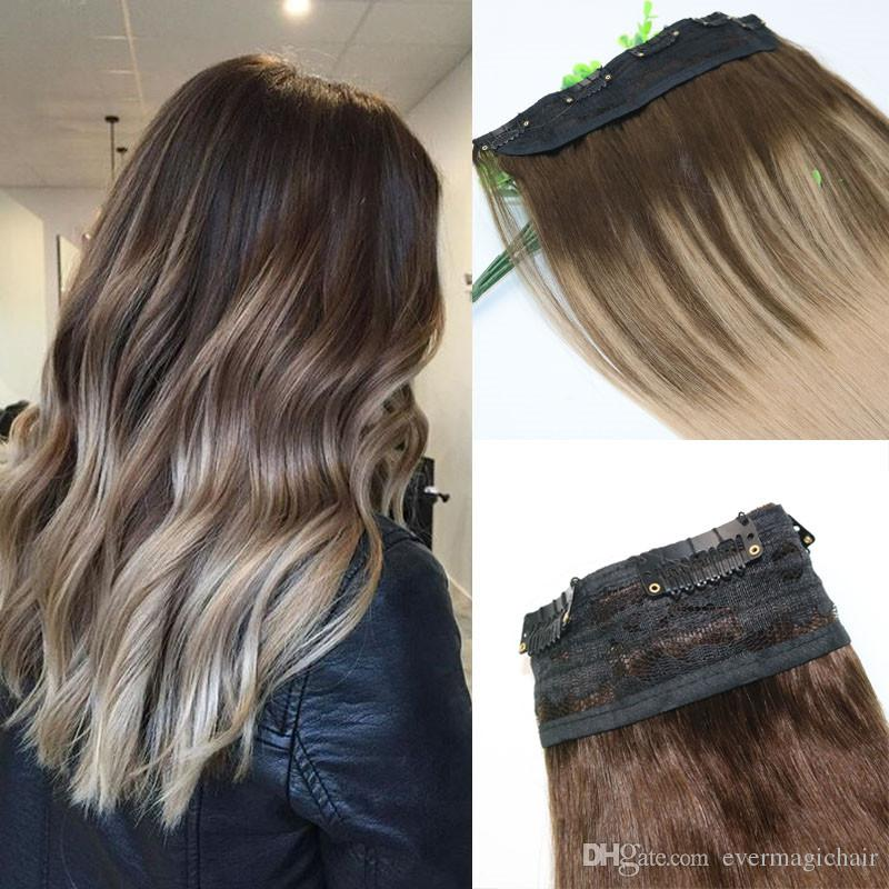 Ombre Ash Blonde With Warm Highlights Dark Brown Root One Piece Clip In Human Hair Extensions 5Clips Per Piece Brazilian Virgin Hair