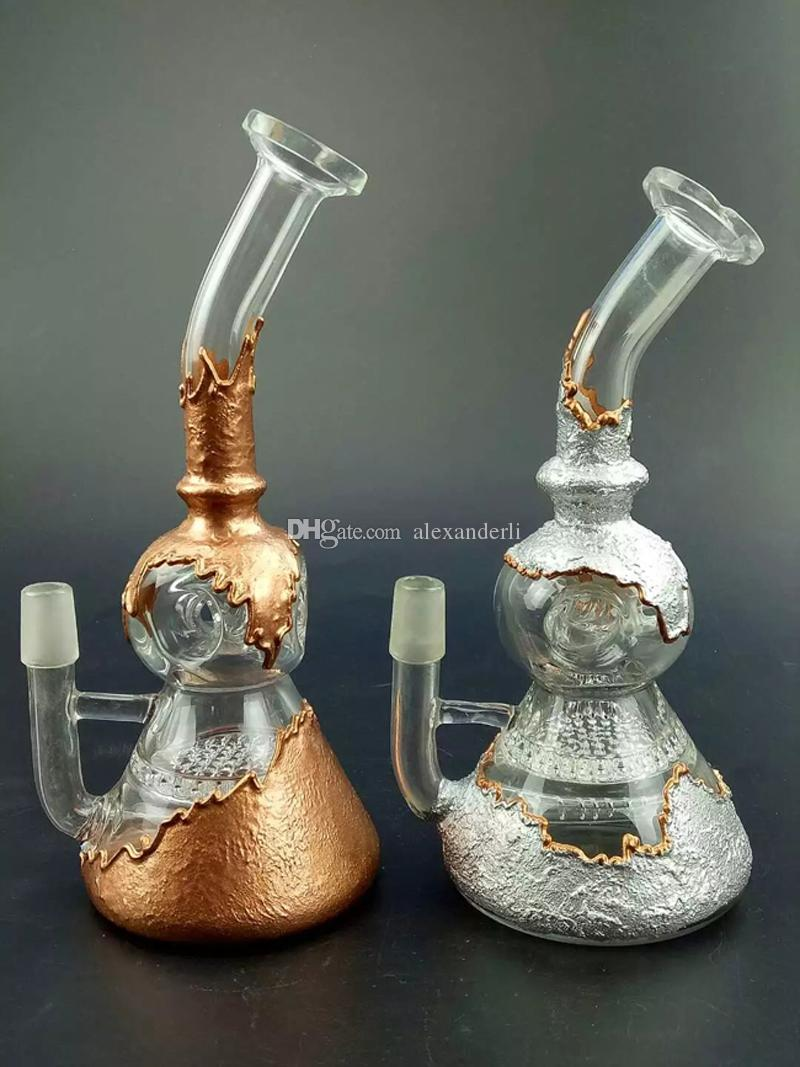 Gold/Sliver Color Bong Perfect Vortex Fab Egg Glass Recycler Oil Rig Glass Bong With Tyre Perc Dome Nail Smoking Water Pipe