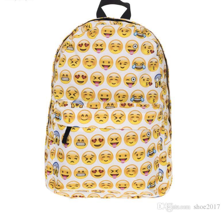 mejor servicio fa64c 0e1d5 Compre Al Por Mayor Mochila De Moda Women'Men Emoji Bag Lienzo Mochila De  Viaje Mochilas Escolares Emoji Mochila Mochilas Escolares Emoji Para Niñas  ...