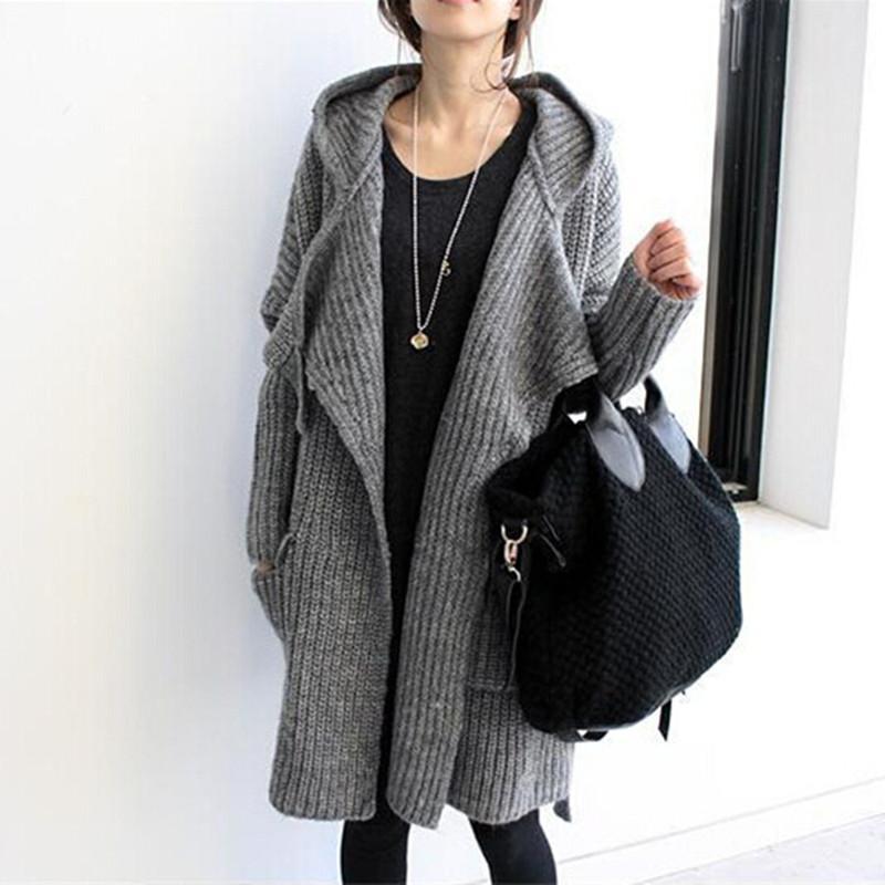 Venta al por mayor de 2015 nueva de la venta del invierno del otoño de las mujeres estilo largo abrigo de punto chaquetas de punto para mujer simples sueltos suéteres encapuchados abrigos