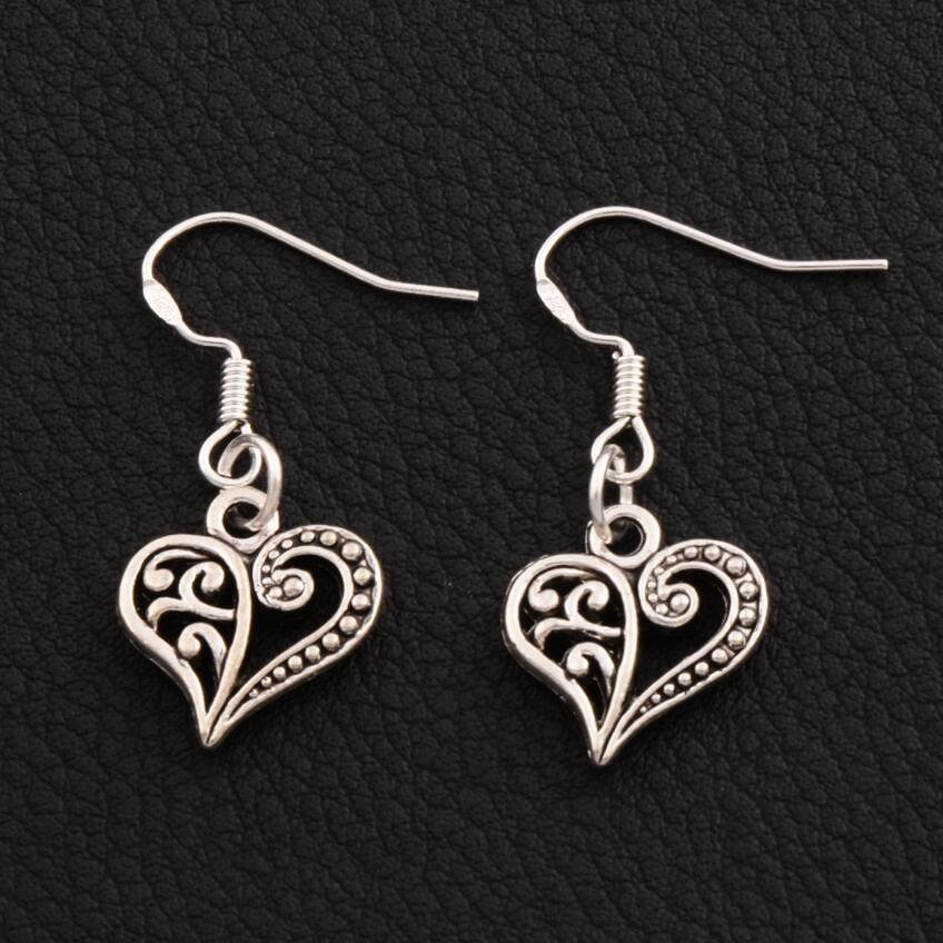 Demi Boucles d'oreilles coeur fleur 925 argent poisson oreille crochet 40 paires / lot tibétain argent lustre E919 13.2x31.5mm