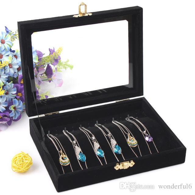 High Grade Halskette Box Armband Schmuck Ketten Vitrine Halskette Anhänger Box Schmuck Dekoration Veranstalter Schaufenster Für Frauen Dame Mädchen