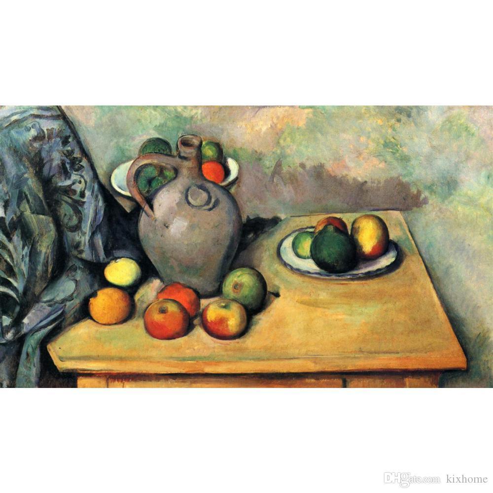 Натюрморт, Кувшин и фрукты на столе Поля Сезанна пейзажи Картины для гостиной декора ручной росписью