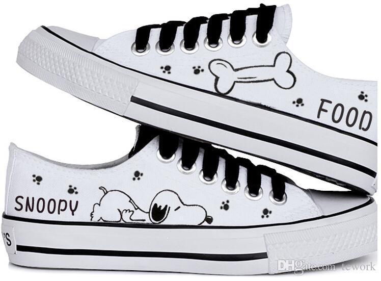 2016 vente chaude d'été femmes casual chaussure snoopy lapin rascal chaussures de toile peintes à la main faible bouche peu profonde bouche noire laçage chaussures de toile des femmes