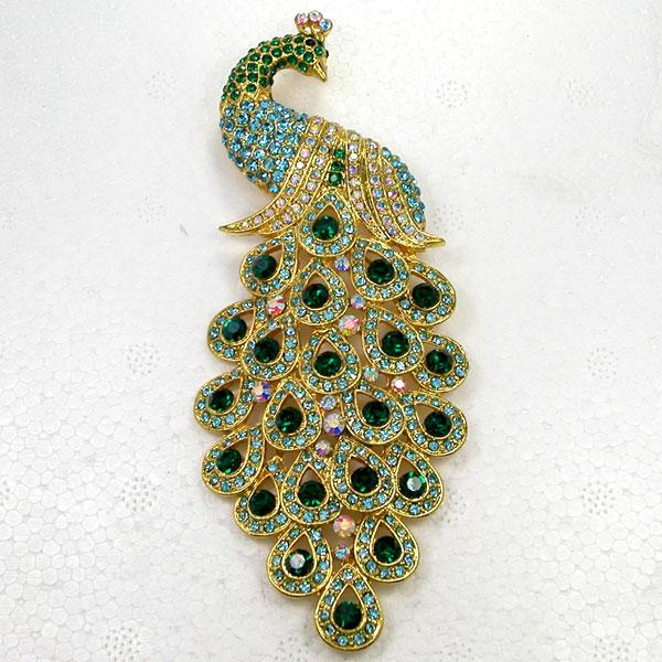 12 pcs / lot En Gros Cristal Strass Grand Peacock Broches De Mode Costume Broche Broche bijoux cadeau C762