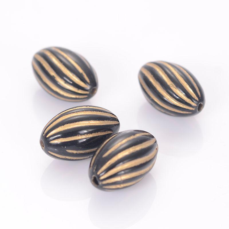 150pcs 9x15mm Acrylic Striped Twist Oval Shape Spacer Beads With Gold Lined Antique Design Beads For Diy Jewelry Making Accessories