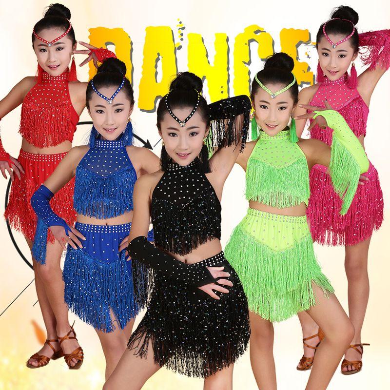 Girls Latin Dance Costume Competition Dress Kids Children Performance Sequins G5