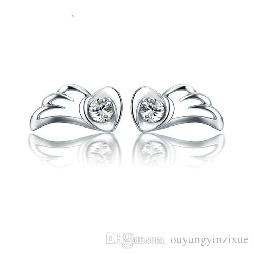 Real bonito das mulheres 925 Sterling Silver Asas de Anjo de Cristal Rhinestone Ear Stud Brincos Jóias Coração Stud Ear (Cor: Prata)