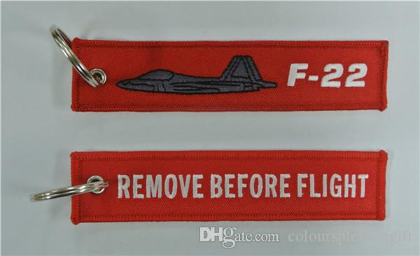 Cloth Keyring Remove Before Flight on reverse F-22A Raptor on front