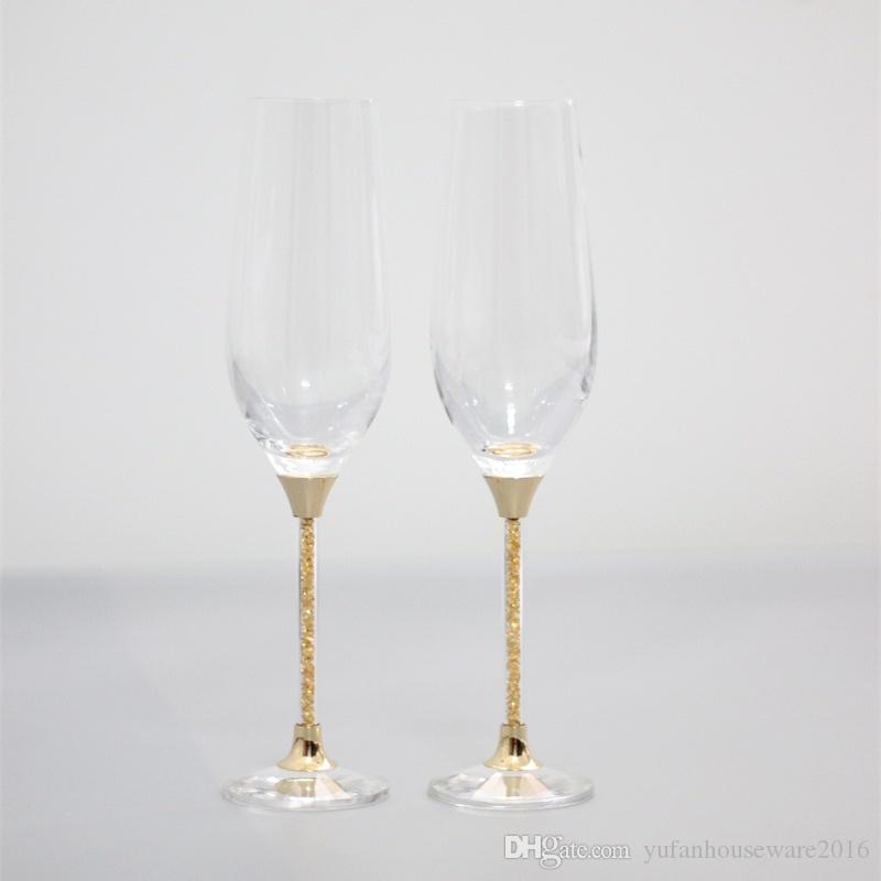 2017 cheap lead free crystal toasting wine glasses set gold stemware champagne flutes home and bar use drinking glass