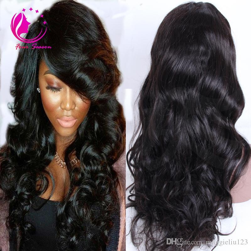 브라질 인간의 머리 전체 레이스 가발 아기 헤어와 함께 glueless 느슨한 웨이브 물결 모양의 레이스 정면 가발 흑인 여성을위한 자연 hairline 130 % 밀도