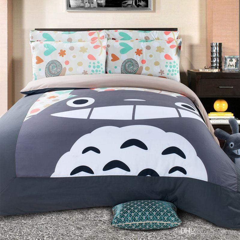 Christmas Totoro Quilt Comforter Set 3D Bedding Duvet Cover Cover Multi-Choice Bed Cases Pillow Print Cartoon H0031 Bedding Set Qwnph