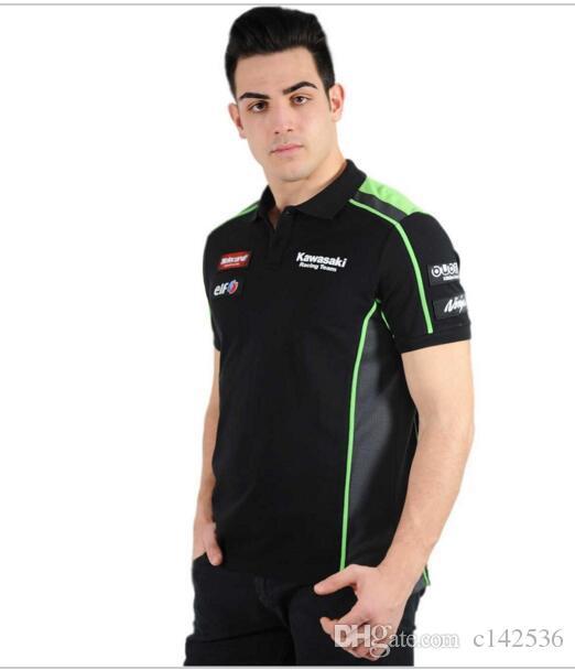 100/% coton homme MotoGP Team Kawasaki Polo T-Shirt Moto Sport personnalité