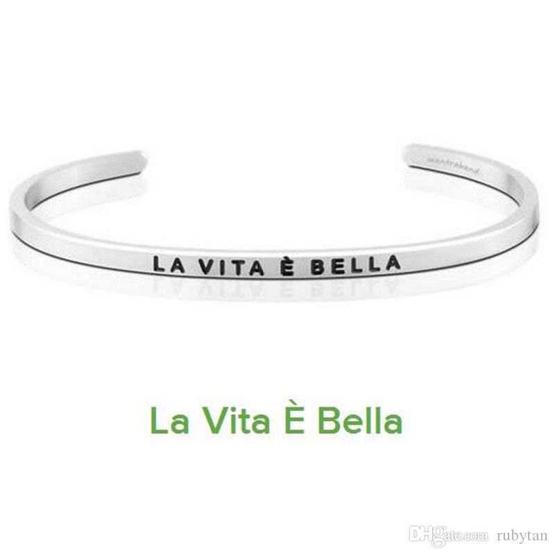 Silver La Vie Est Belle Cuff Mantra Bracelet Bangle Stainless Steel Engraved Positive Inspirational Quote Bangle Silver Torque Bangle Wholesale