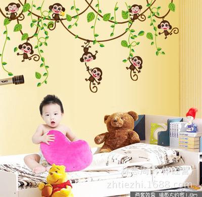 لطيف البسيطة القرود الفينيل ملصقات الحائط الشارات أطفال الحيوانات النباتات خلفيات جدارية بنات أولاد أطفال نوم الحضانة ديكور المنزل