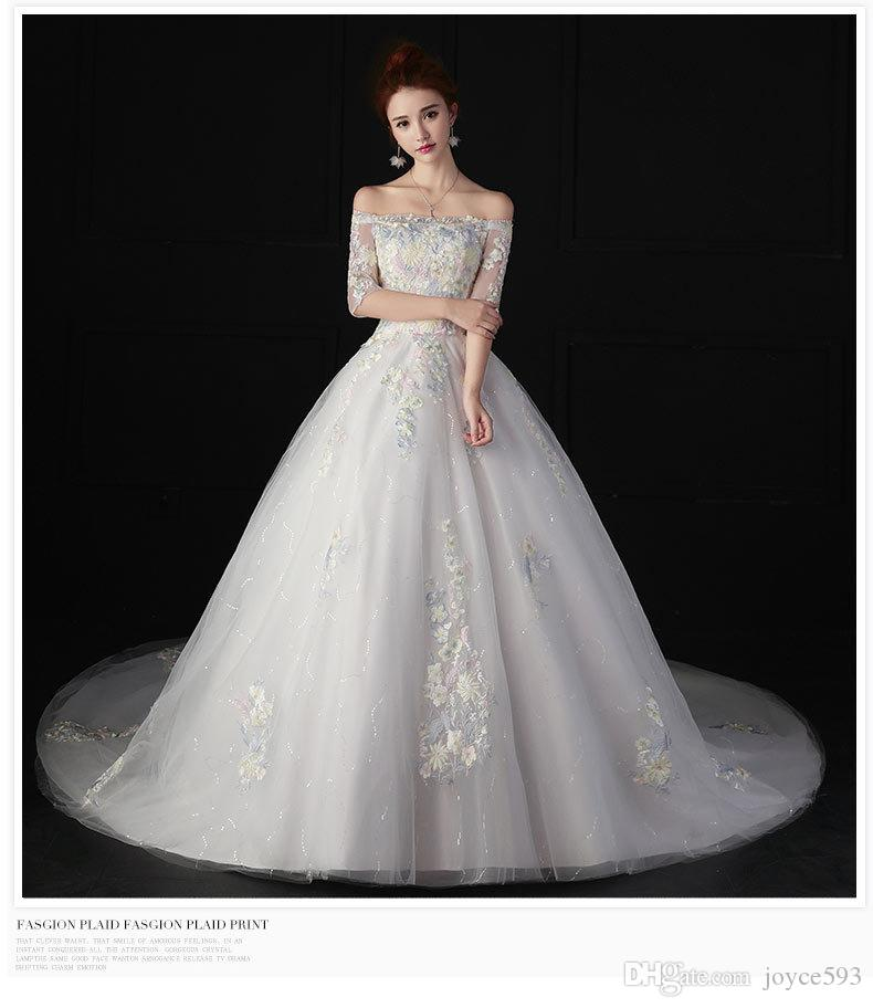 e7bd36865 ... 2017 nuevo elegante bordado de encaje flores barco cuello media  longitud vestido de novia cintura alta ...