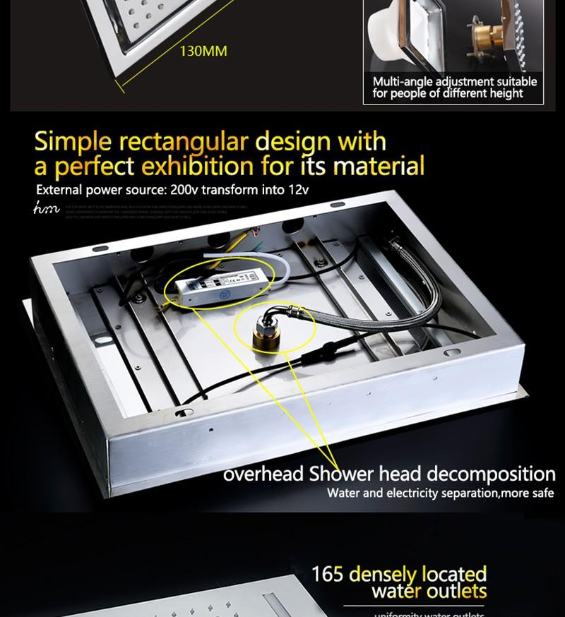 hm LED Rain Shower Set with 2 Lights with Handshower Body Jet Massage Thermostatic Mixer Bathroom Ceiling (20)