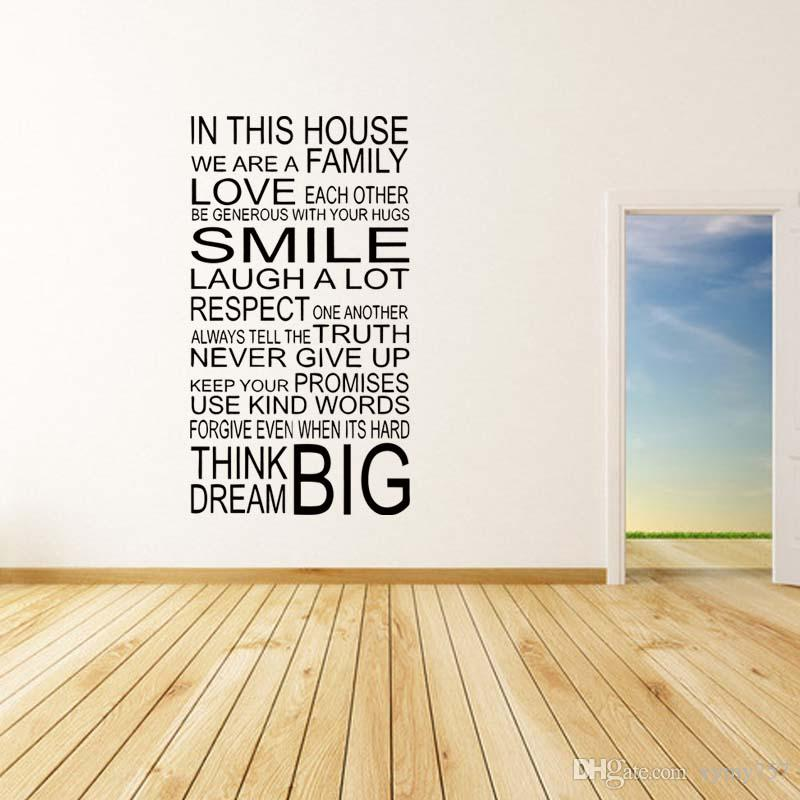 New Style For Large Quote In This House Rules Family Art Removable - House rules wall decals