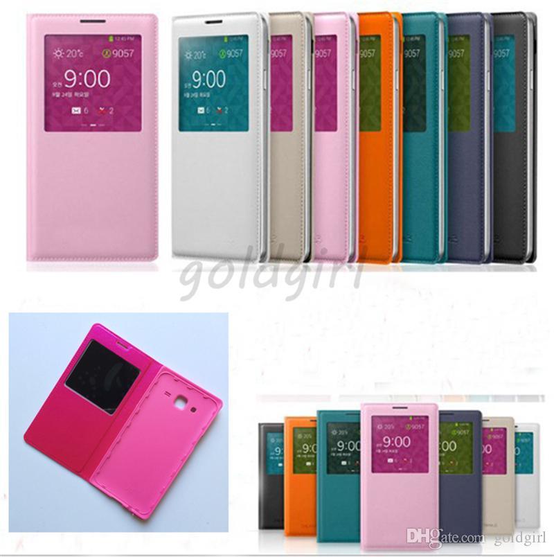 Función de despertador despierto Smart Wake Up Vista de ventana abierta Funda de cuero Flip Case para Samsung Galaxy S3 S4 S5 borde S6 plus s7 s7 edge Alpha G850