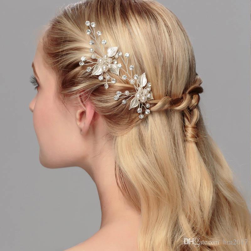 신부 들러리 신부 모조 진주 크리스탈 꽃 머리핀 수제 웨딩 헤어 액세서리 Headpiece Veil Hair Jewelry