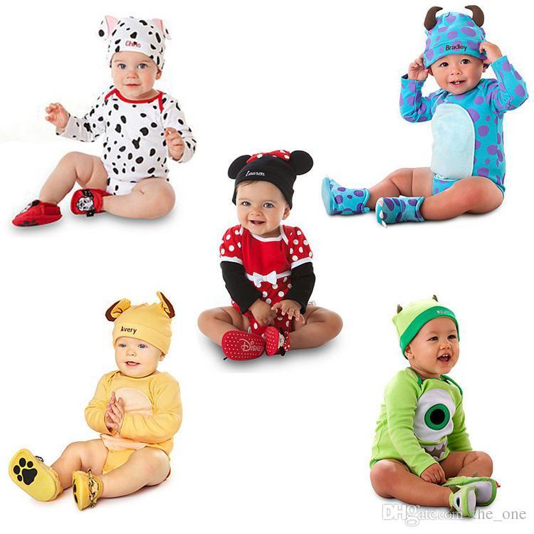 Styles de dessin animé baby bovompers chapeau nouveau-né animal mignon bébé garçons filles coton combinaisons fantasia infantil bébé vêtements