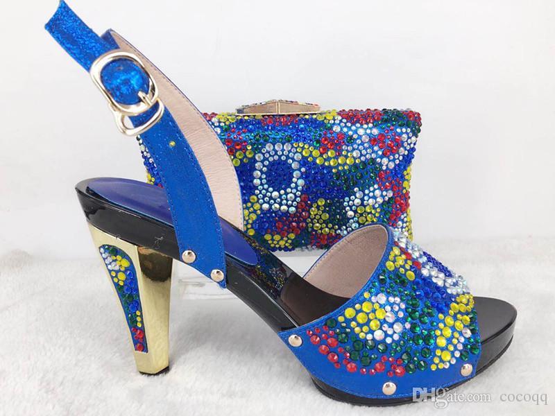 Neueste afrikanische Schuhe und Tasche Set für Party italienische Mode Frauen Sandale mit passenden Taschen mit Strass Lu1-30