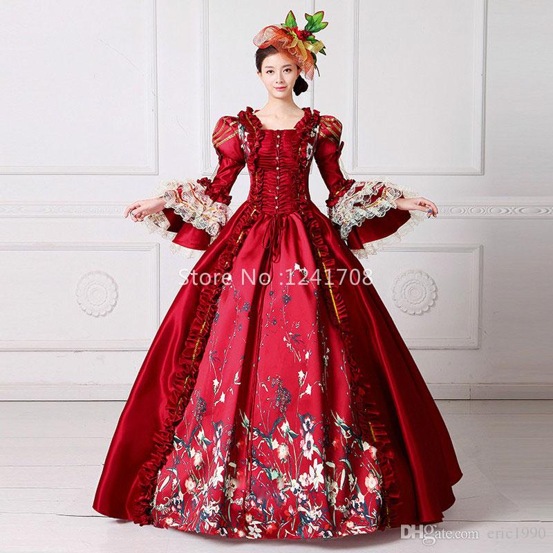 Hot Sale 2017 Red Square Collar Long Flare Sleeve Flowers Pattern Floor-Length Gothic Stage Performance Masquerade Long Dresses
