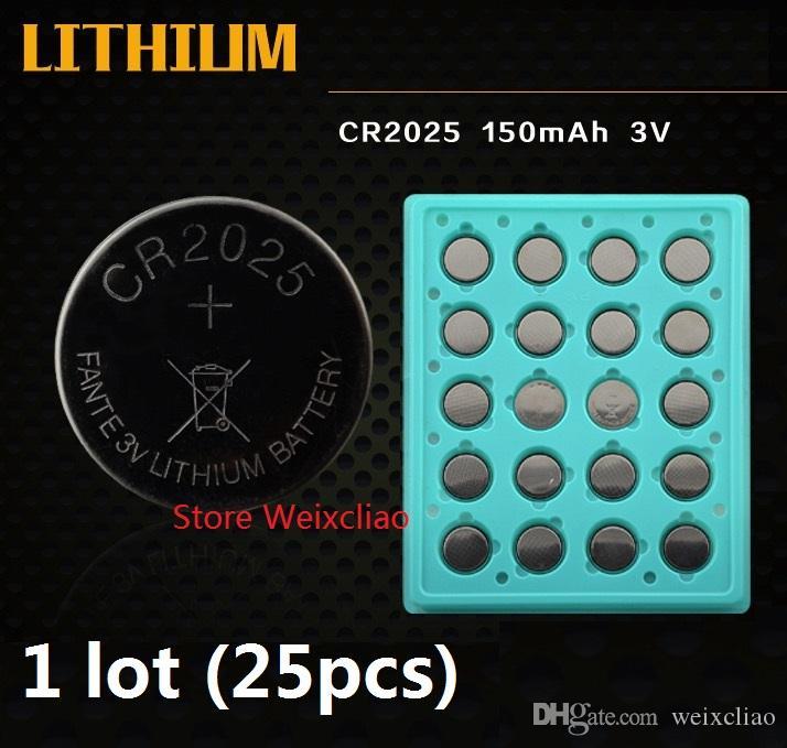 25pcs CR2025 3V 리튬 이온 버튼 셀 배터리 CR 2025 3 볼트 리튬 이온 배터리 트레이 패키지 무료 배송
